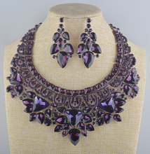 Bridal Jewelry Set Gorgeous Romance purple rhinestone For Brides Necklace Earring Wedding Party Accessories New arrival