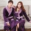 Autumn Winter Thick Flannel Robe Men Coral Fleece Bathrobe Male Plus Size Sleepwear Long Sleeve Couples