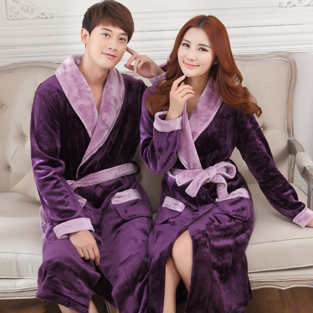 Autumn  winter thick flannel robe men coral fleece bathrobe male plus size sleepwear  long-sleeve couples
