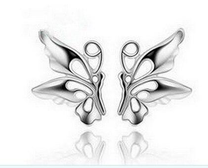 Fashion Women 925 Sterling Silver Plated Butterfly Ear Stud Earrings Jewelry