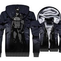 High Quality Hoodies For Men Thick Coats 2018 Autumn Winter Hooded Hoddie Super Hero Movie BATMAN 3D Pattern Men's Sweatshirts