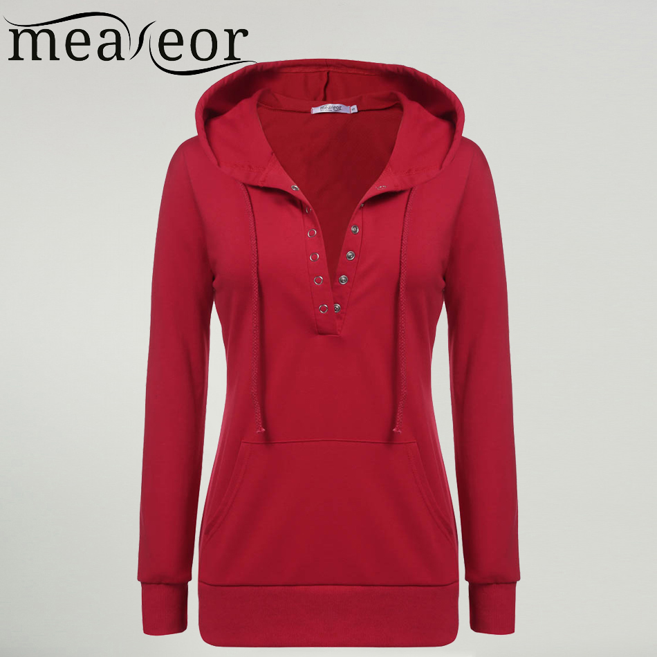 Meaneor Brand Women Hoodies Casual Half Button Open V Neck Solid ...