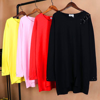 Brieuces Spring Woman Beaded Large Size T Shirt Woman Wild Solid Color Loose Long Sleeved Long