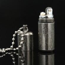 Portable Key Chain Capsule Compact Kerosene Flint Lighter Pocket Mini Gasoline Lighter Inflated Keychain Oil Lighter