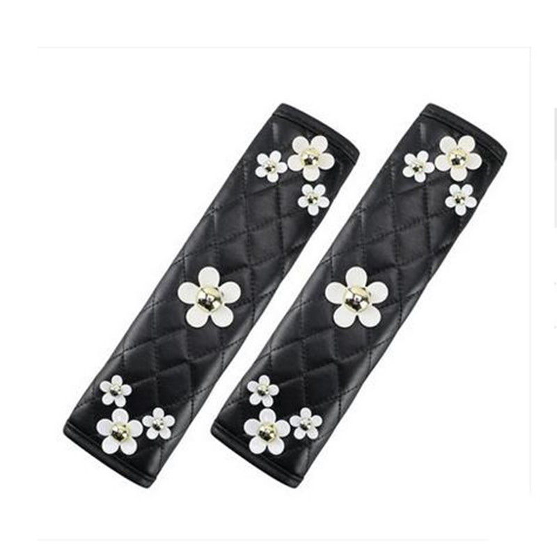 1pc Flower Car Saftey Belt Cover PU Leather Daisy Black Flower Seat Belt Cover Shoulder Pad for All Car Styling