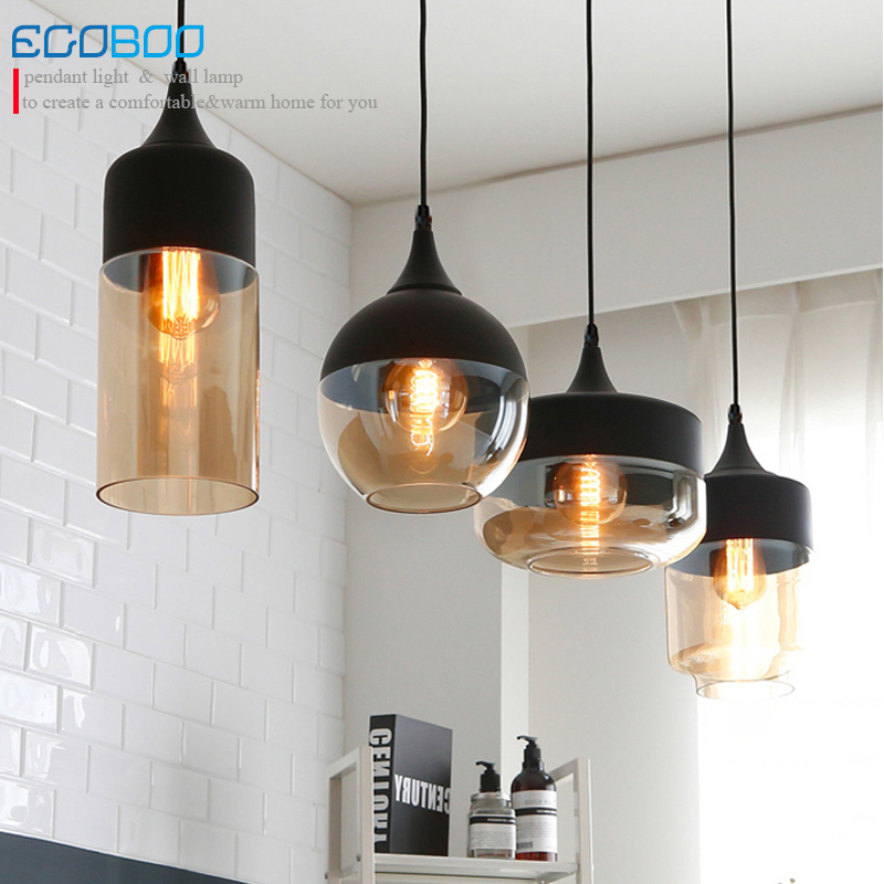 Free Shipping simple creative glass and iron pendant lamp living room/bedroom/bar /single head Chandelier 100-240V AC E27 lamp