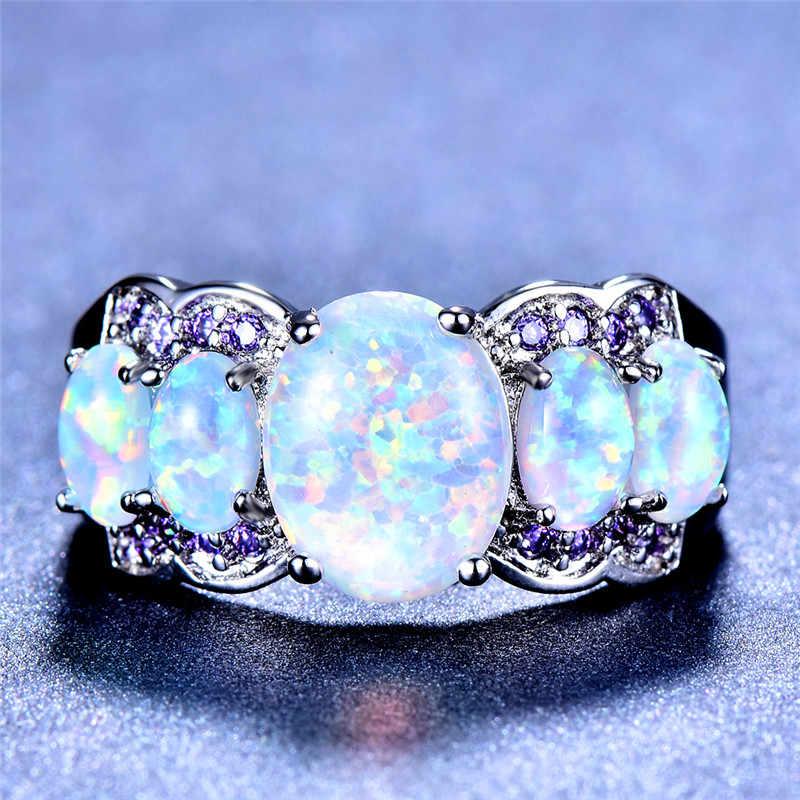 925 เงินสเตอร์ลิง Big หินสีฟ้าสีเขียวสีขาวโอปอลแหวนคริสตัลสายรุ้ง Birthstone แหวนเครื่องประดับ