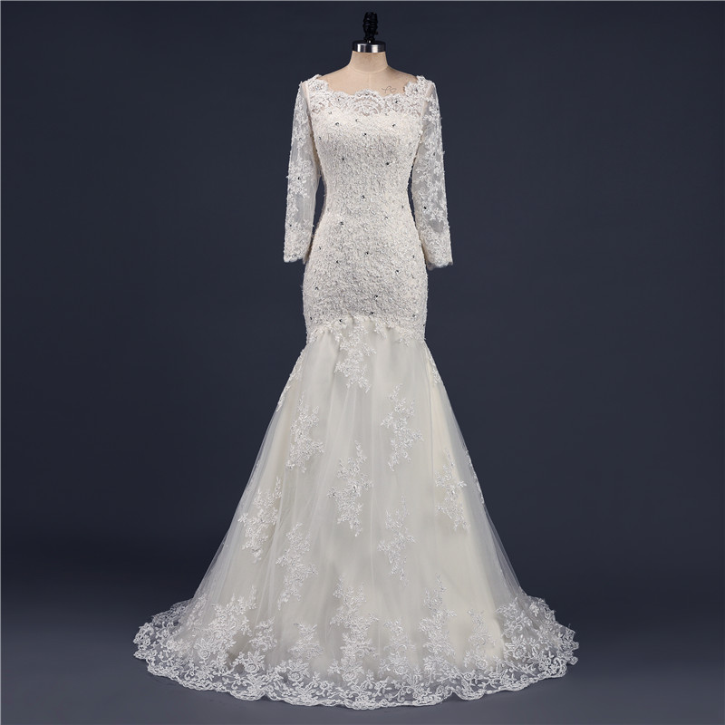 Popular sample wedding gowns buy cheap sample wedding for Long sleeve blush wedding dress