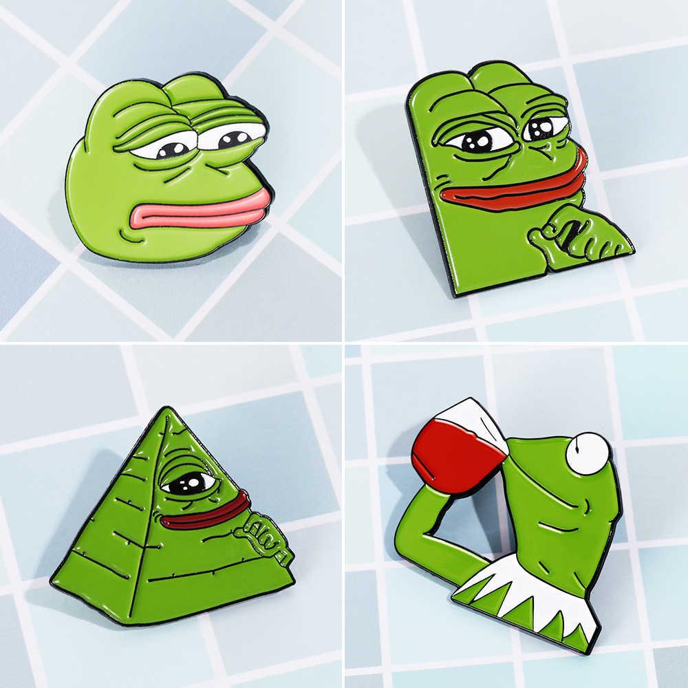 0a6165838e Cute Animal Frog Pepe Pin Brooch Sad Frog Lapel Pin Badges Pop 4 types  Culture Pins