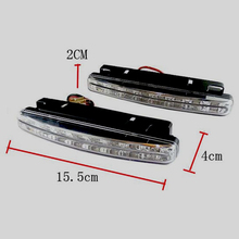 2017 2Pcs 12V 8W 8LED Daytime Running Light Waterproof External Led Car Styling Car Light Source Fog Bar Lamp White 2pcs auto car fog light lamb led daytime running light headlight external light for skoda citigo 2012 2013 12v car light source