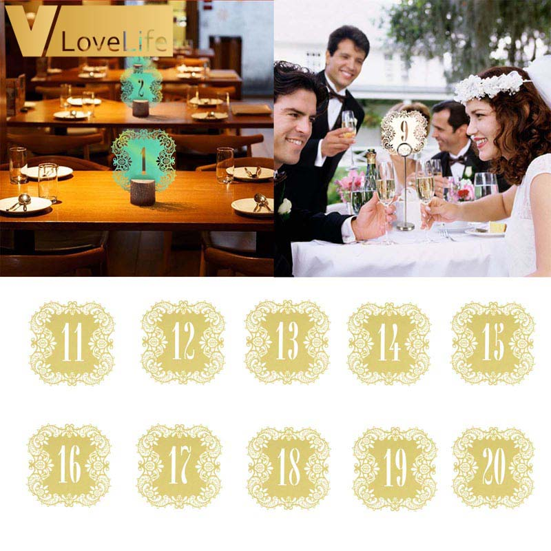10pcs Wedding Table Number Table Cards 11-20 Hollow Laser Cut Card Numbers Vintage Wedding Decoration Event Party Supplies