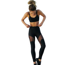 Women Yoga Sets Breathable Tracksuit Running Sports Suit Gym Clothing Sexy Patchwork Mesh Leggings + Camisole #F40ST27(China)