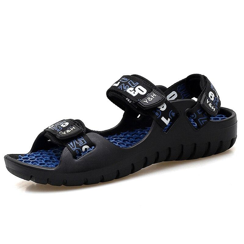 2018 Ljetne kožne muškarci Sandale Crno Jednostavno ručno šivanje - Muške cipele - Foto 3