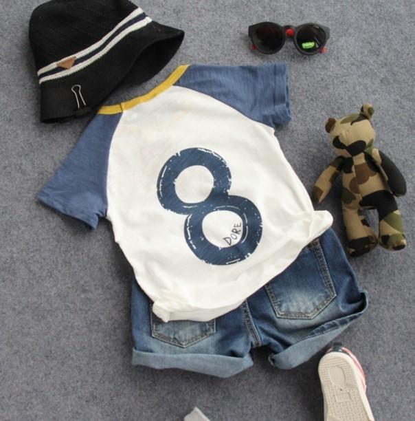 2016 nuevos muchachos del verano número ocho camiseta de manga corta para niños moda de verano camiseta niños casual ropa
