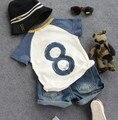 new 2016 summer boys number eight short sleeve t shirt kids summer fashion t shirt boys casual clothing