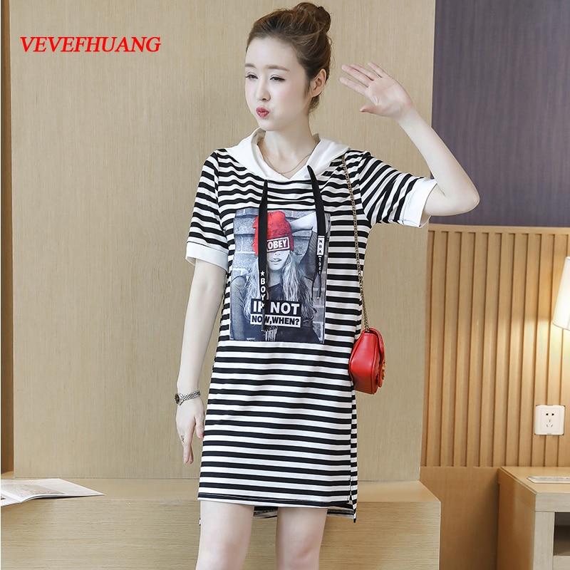New Summer Women dress Knitting Hooded Striped Print Long In Patch Dresses Stripe