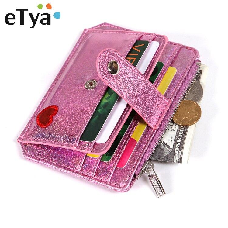 Etya Wallet Purses Short Credit-Card-Holder Embroidery Pink Female Women Coin-Zipper