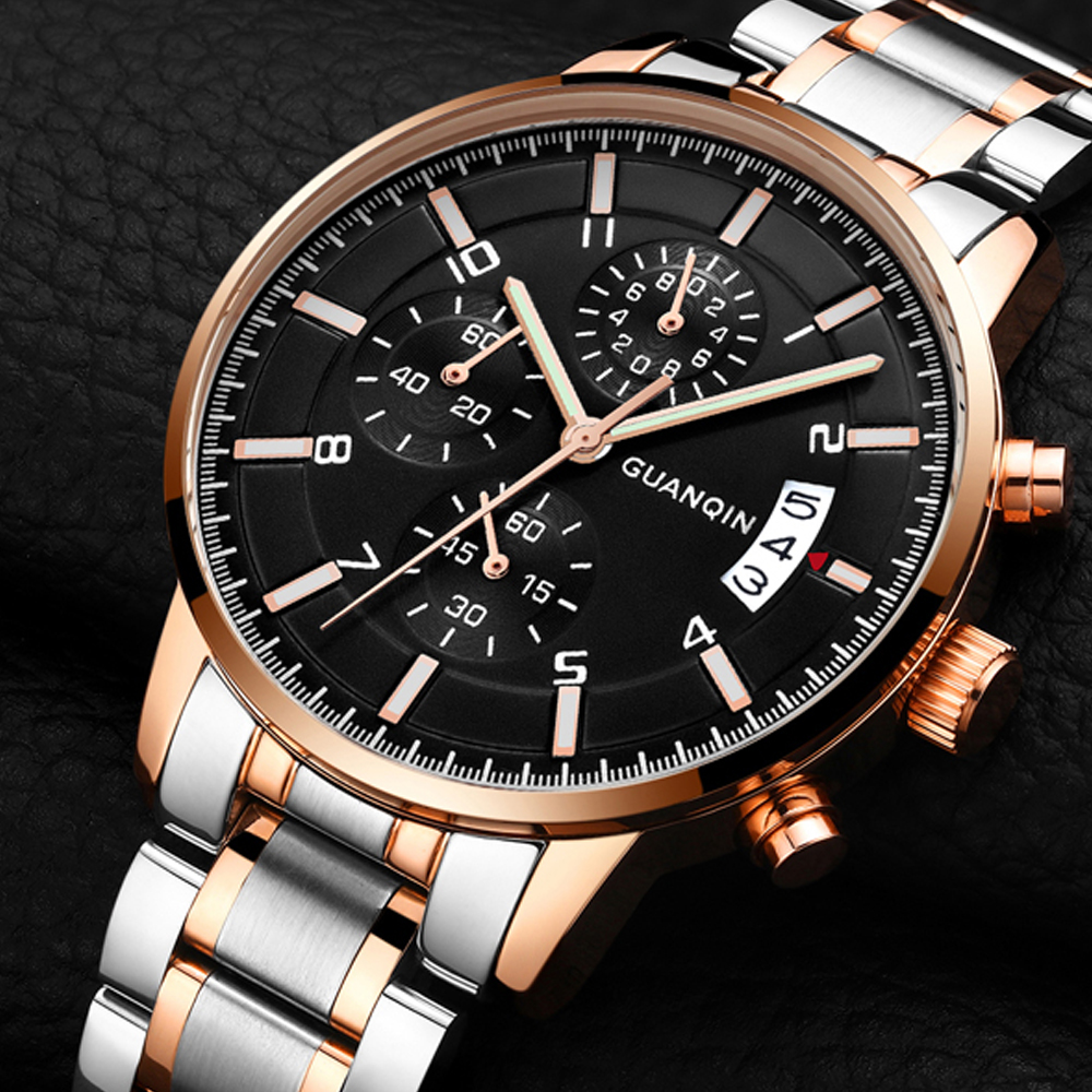 GUANQIN Mens Watches Top Brand Luxury Chronograph Male Business Quartz Watch Men Sport Stainless Steel Clock relogio masculino migeer relogio masculino luxury business wrist watches men top brand roman numerals stainless steel quartz watch mens clock zer