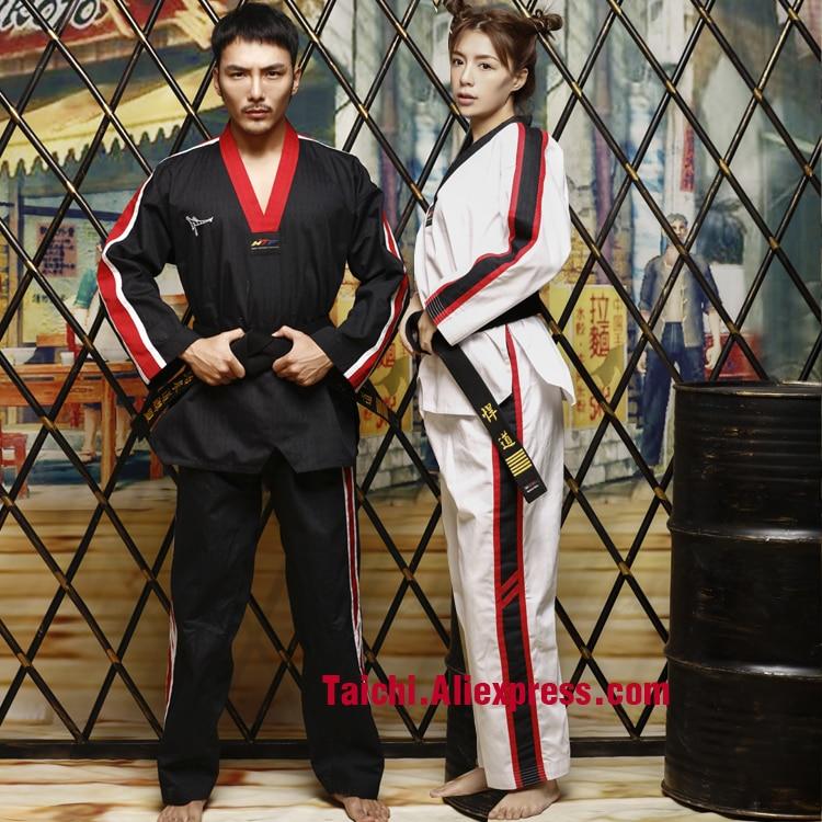 Martial Arts TKD Tae Kwon Do Korea V-neck Taekwondo Clothes For Poomsae & Training,WTF Uniform,160-190cm,red,blue,black,white