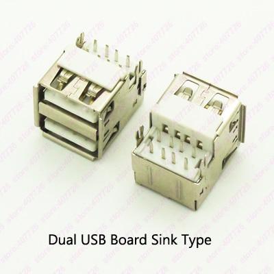 5PCS Dual USB 2.0 Connector Female 8PIN DIP 2 Feet Straight USB 2.0 Jack 90Degree USB Socket PCB Board Sink Type Curved/Flat