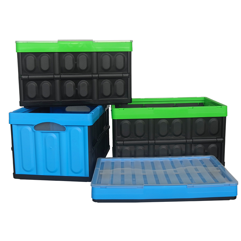 56L Plastic PP Office Desk Organizer Laundry Large Foldable Storage Container Baskets And Bins Packaging Box For Toys With Cover