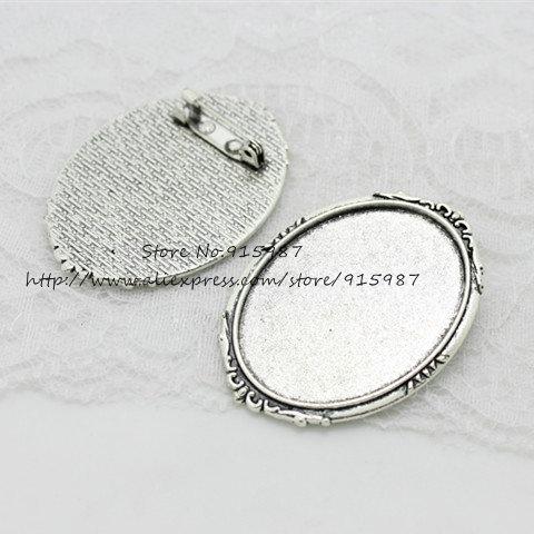 Перец сладкий (6 шт./партия) античный серебряный металлический сплав брошь 35*50 мм (Fit 30*40 мм диаметр) овальный Кабошон Настройки d0846