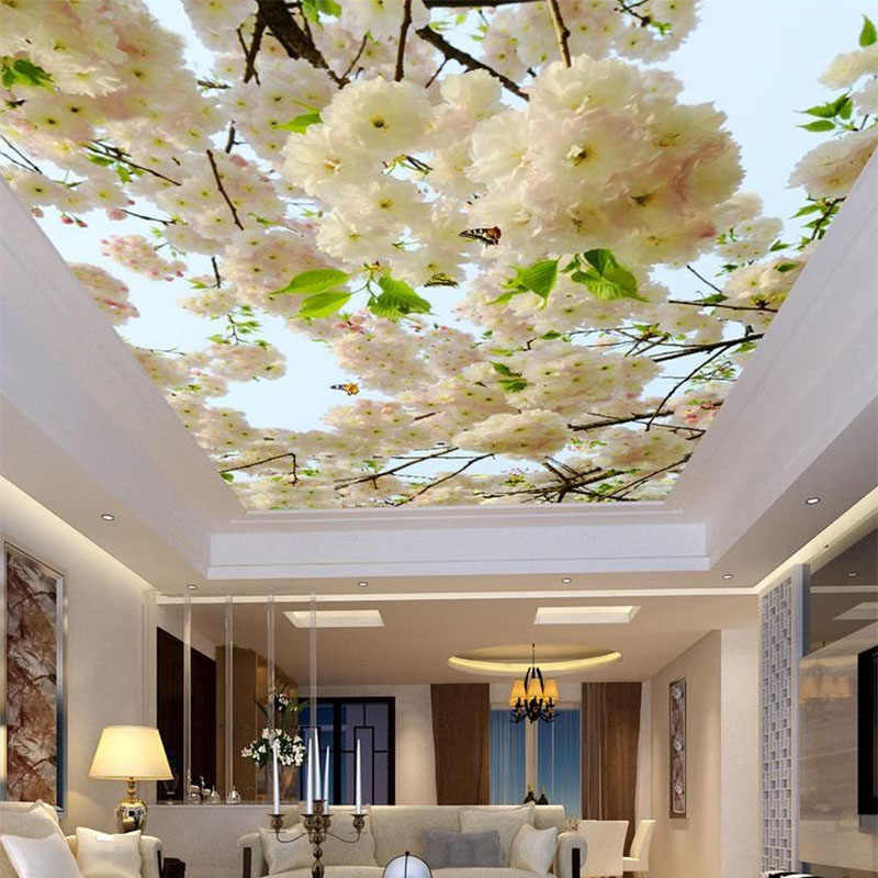 Custom Large 3D Stereo White Flowers Photo Wallpaper Ceiling Mural Living Room Hotel Non-Woven Ceiling Fresco Papel De Parede 3D