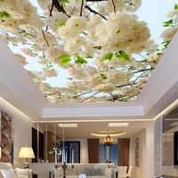 Custom Large 3D Stereo White Flowers Photo Wallpaper Ceiling Mural Living Room Hotel Non-Woven Ceiling Fresco Papel De Parede 3D