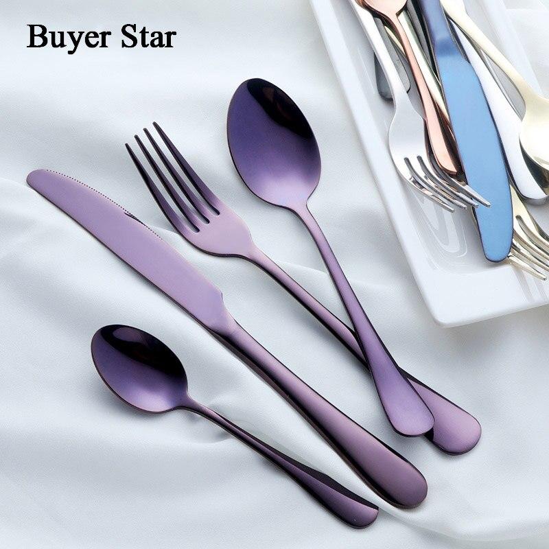 Buyer Star Stainless Steel 18 10 Flatware Set SUS304 Cutlery Kitchen Dinnerware Rustless Mirror Polish Knife