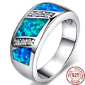 Noble Blue Opal Nature Gmen 925 Sterling Silver  Rings For Women Engagement Best Gift Jewelry Colorful Stone Wholesale
