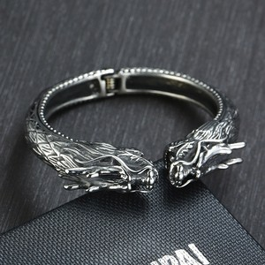 Image 3 - Heavy Stainless Steel Dragon Head Cuff Bracelet for Men Nomad Tribal Vintage Bangle Jewelry