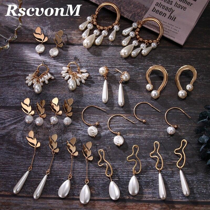 New Pearl Pendant Earring Fashion Metal Leaf Gold Earring Geometric Drop Earring Wedding Pearl Gift Jewelry Wedding Jewelry