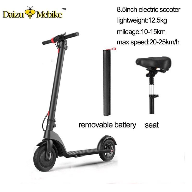 36 V 250 W scooter elétrico com assento 36 V 5.2A dobrar bateria de lítio elétrica skate crianças adulto motor brushless scooter