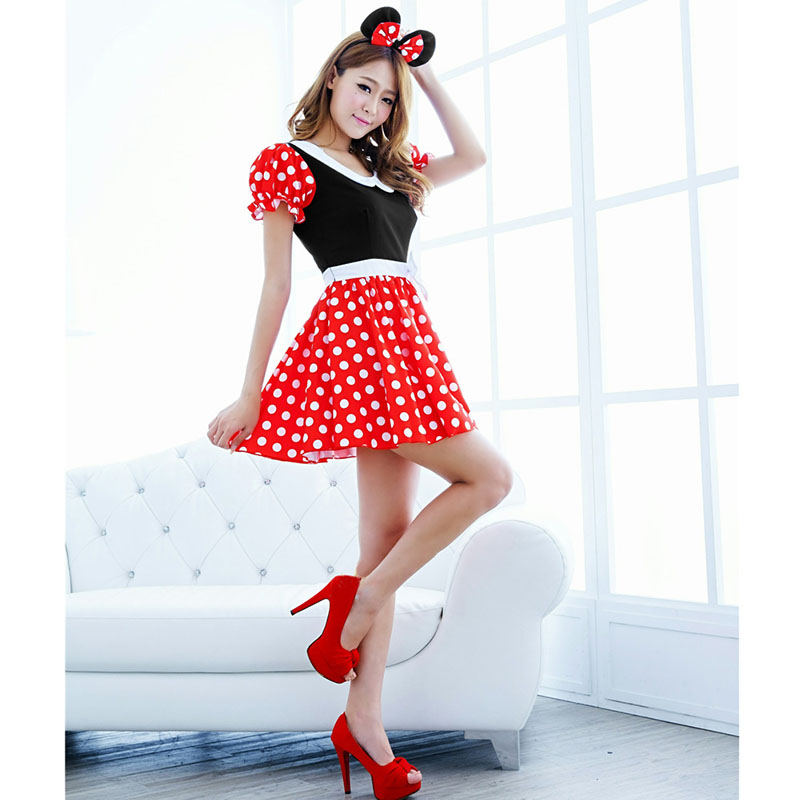 Sexy Lingerie Christmas Halloween Costumes For Women Cute Cartoon Mouse Cosplay Costume With Ear Party Wear Disfraz Mujer