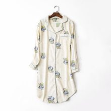 2019 Spring Female Casual Cartoon nighty dress Ladies 100% Brushed Cotton  Nightgown Women Long Sleeve bb32c46be