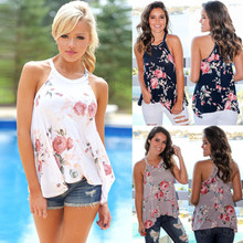 Women T Shirt 2017 Sexy O-Neck Irregular Summer Floral Print Boho T-shirt Lady Sleeveless Casual Tops Plus Size Tees TShirt