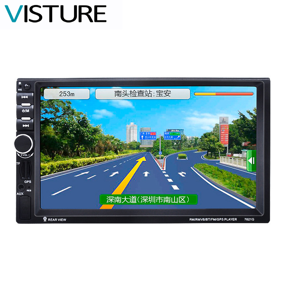 In Dash Car GPS MP5 Player With 7 HD 2 Din Touch Screen Bluetooth Steering Wheel Control Support TF USB AUX FM Radio 7021G 7 hd 2din car stereo bluetooth mp5 player gps navigation support tf usb aux fm radio rearview camera fm radio usb tf aux