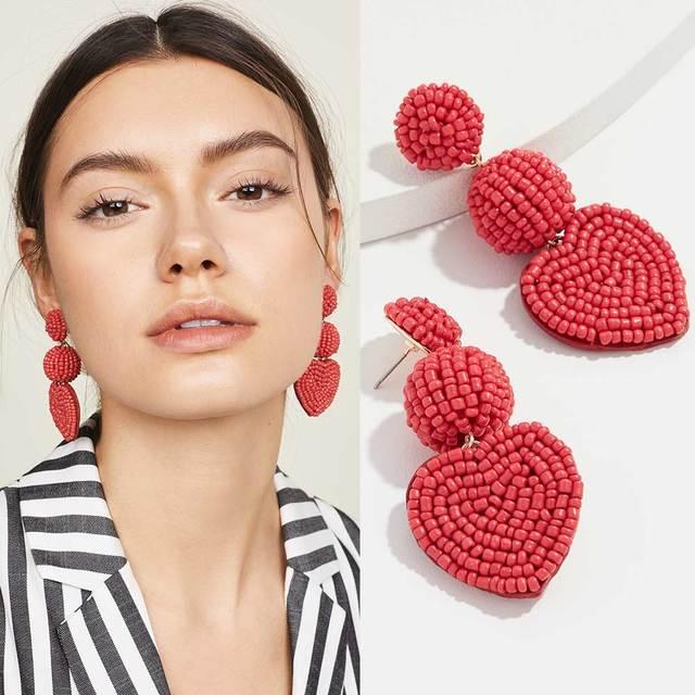 Dvacaman красные бусины в форме сердца серьги для женщин 2019 помпон богемные ювелирные изделия длинные висячие Висячие серьги Свадебные подарки оптовая продажа