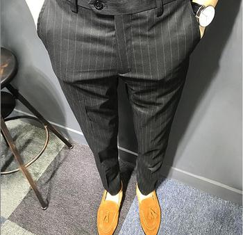 Business Slim Fit Casual Blazer Straight Dress Trousers Formal Wedding Suit Pants Men Black Stripe Available Fashion Suit Pants Men's Suit Pants