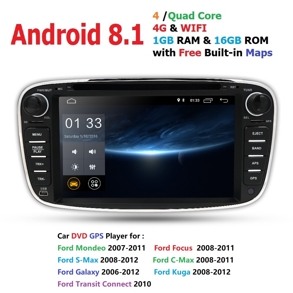 Car Monitor Android 8.1 Car DVD Player 2 Din radio GPS Navi for Ford Focus Mondeo Kuga C-MAX S-MAX Galaxy Audio Stereo Head UnitCar Monitor Android 8.1 Car DVD Player 2 Din radio GPS Navi for Ford Focus Mondeo Kuga C-MAX S-MAX Galaxy Audio Stereo Head Unit