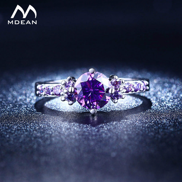 MDEAN White Gold Color Rings For Women Purple AAA Zircon Jewelry Engagement Wedding Size 5 6 7 8 9 10 11 12 MSR199 2