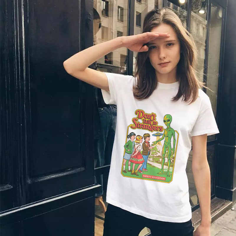 Summer Top Pulp Fiction Alien Funny Grunge Tee Women Tshirt 90s Aesthetic Kawaii Instagram Clothing Femme Streetwear New Arrival