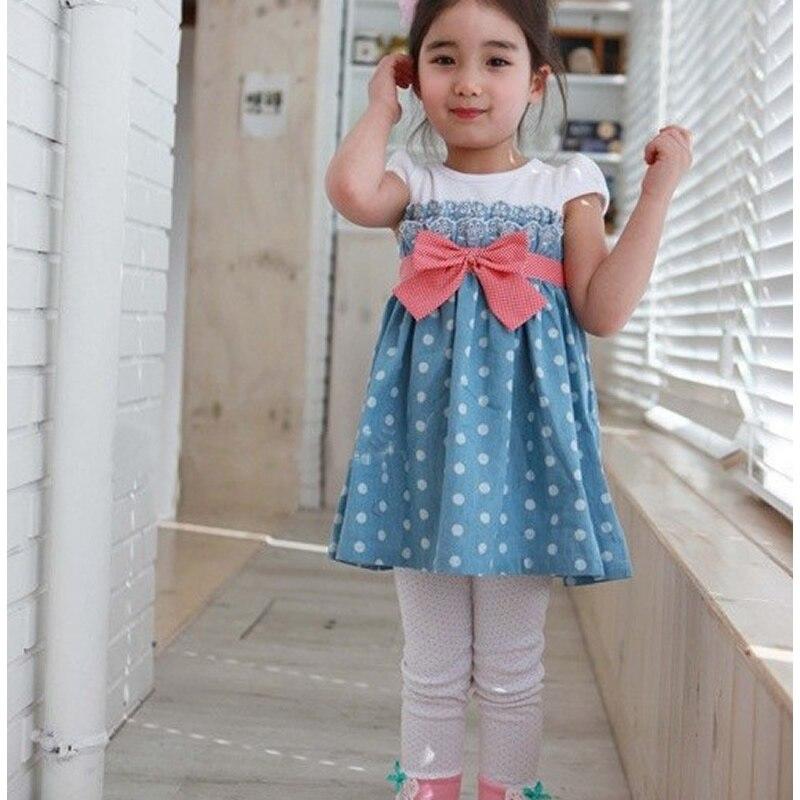 2016 summer leisure style children girls denim baby girls cute bow denim dresses kind fashion dress outfits free shipping ...
