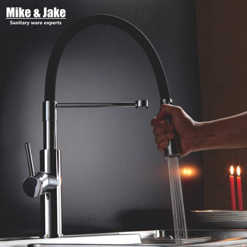 New Black kitchen water tap pull down kitchen mixer sink faucet pull out taps for sink taps hot and cold kitchen faucets MJ907 kitchen chrome plated brass faucet single handle pull out pull down sink mixer hot and cold tap modern design