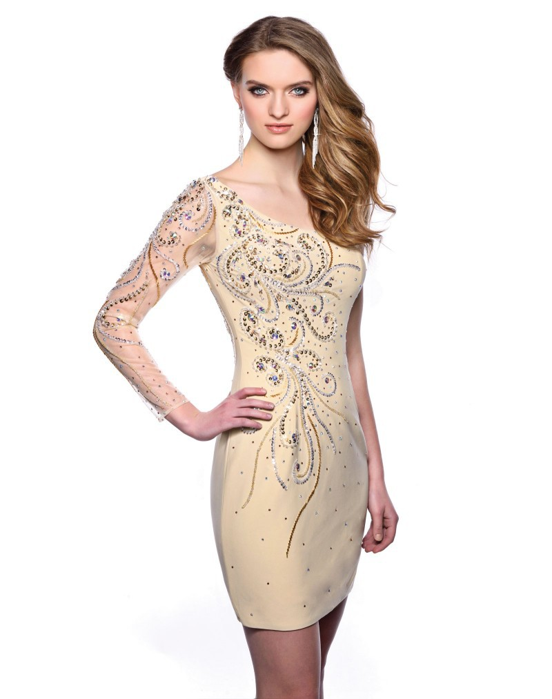 Elegant dresses with sleeves for teens champagne sleeved semi formal - Elegant Dresses With Sleeves For Teens Champagne Sleeved Semi Formal 48
