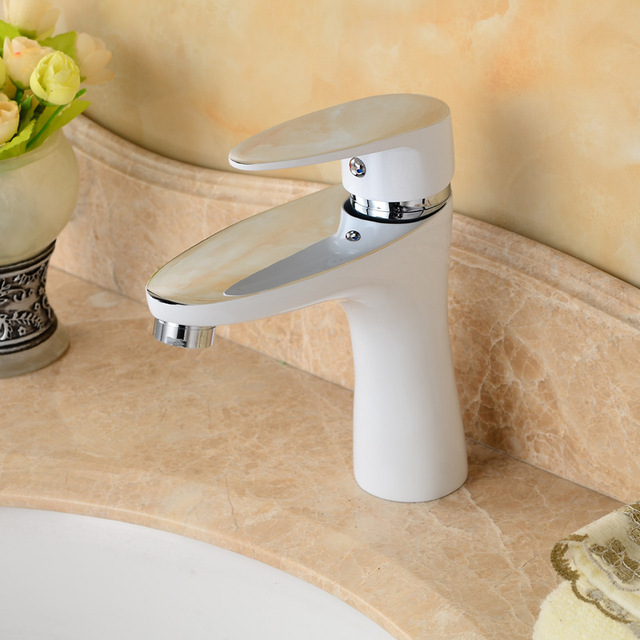 Merveilleux Free Shipping White Color Bathroom Faucet With Solid Brass Bathroom Basin  Faucet Of Hot Cold Basin