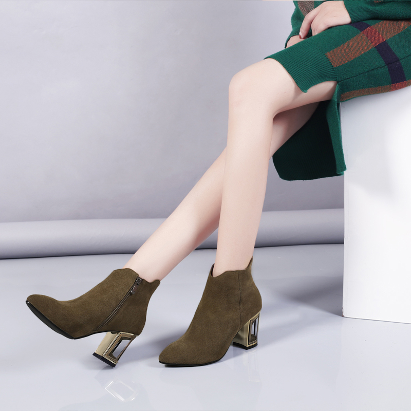 Inside green Invierno Mujer Pu Cuero De Alta Extraño Genuino Estilo Short Black Sexy Otoño 2017 Inside Kickway black Tacones 43 Plush Botas Calidad Plush green Tobillo Zapatos wqZnUXHx4P