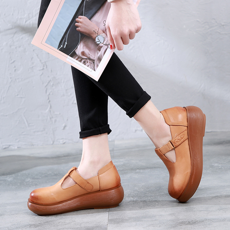 Women Leather Pumps T Strap Shoes 6 Cm High Heels Wedge Pumps Women Spring Shoes Retro 2019 Handmade Genuine Leather Women Pumps - 3