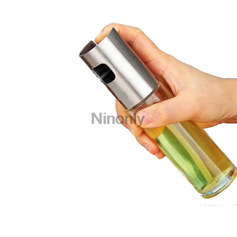 Stainless Steel Olive Oil Sprayer Oil Spray Bottle Pump Glass Oil Pot Leak proof Drops Oil Dispenser BBQ Kitchen Cooking Tool in Food Covers from Home Garden