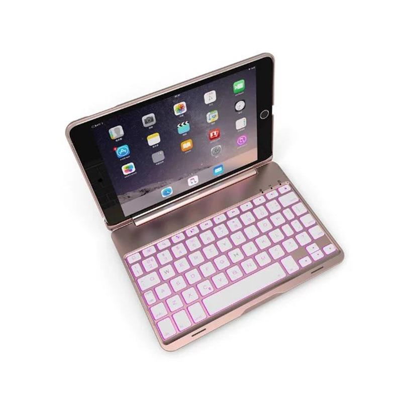 Ультра тонкий 7 цветов Подсветка Bluetooth клавиатура Smart Folio чехол для iPad Mini 4 7,9 дюйма Алюминий Защитная крышка